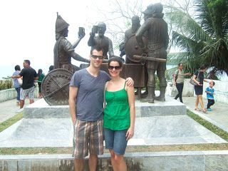 Photo in front of the blood compact memorial in Bohol