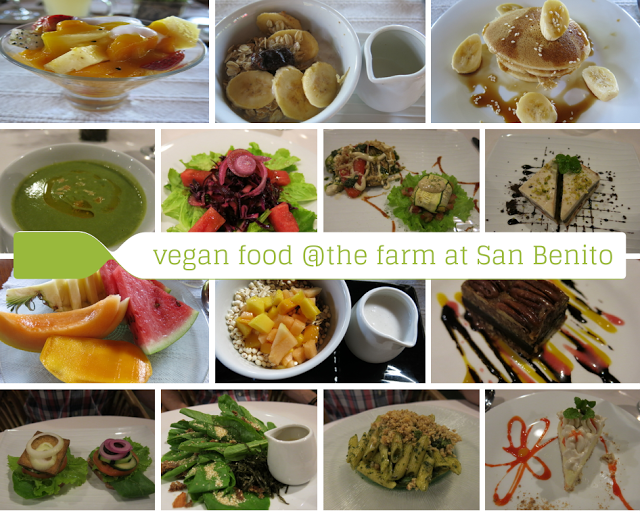 Collage of vegan meals at The Farm at San Benito