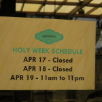 Photo of a closed sign in Manila over Holy Week