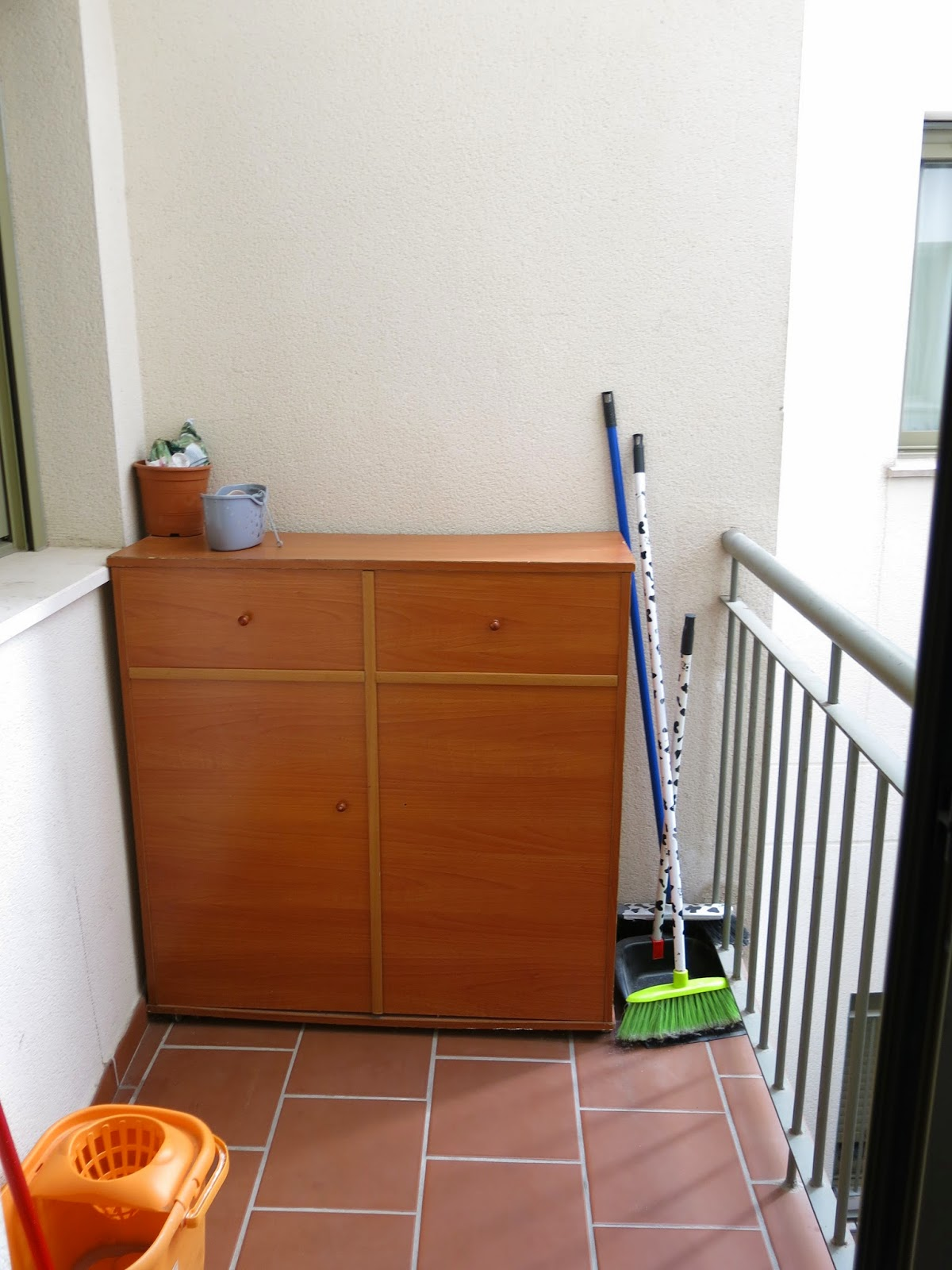 Photo of the balcony in our temporary apartment