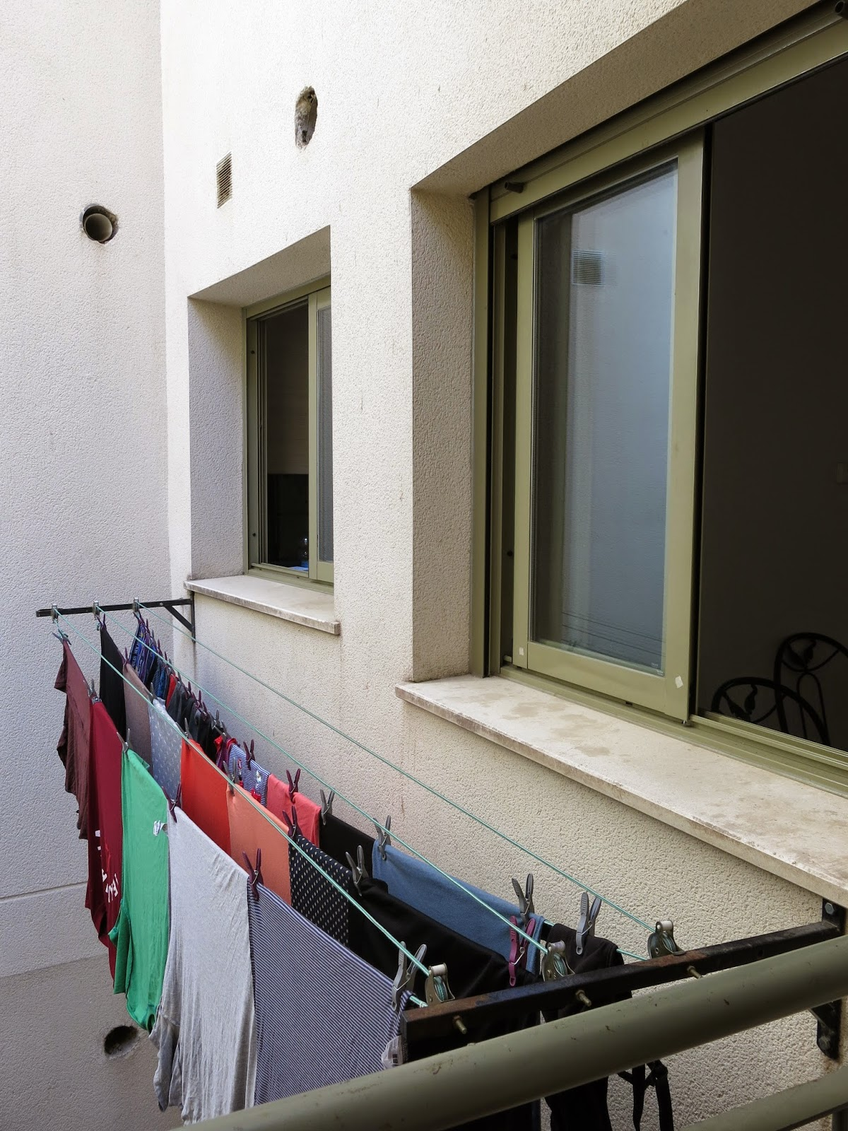 Photo of the washing line in our temporary apartment