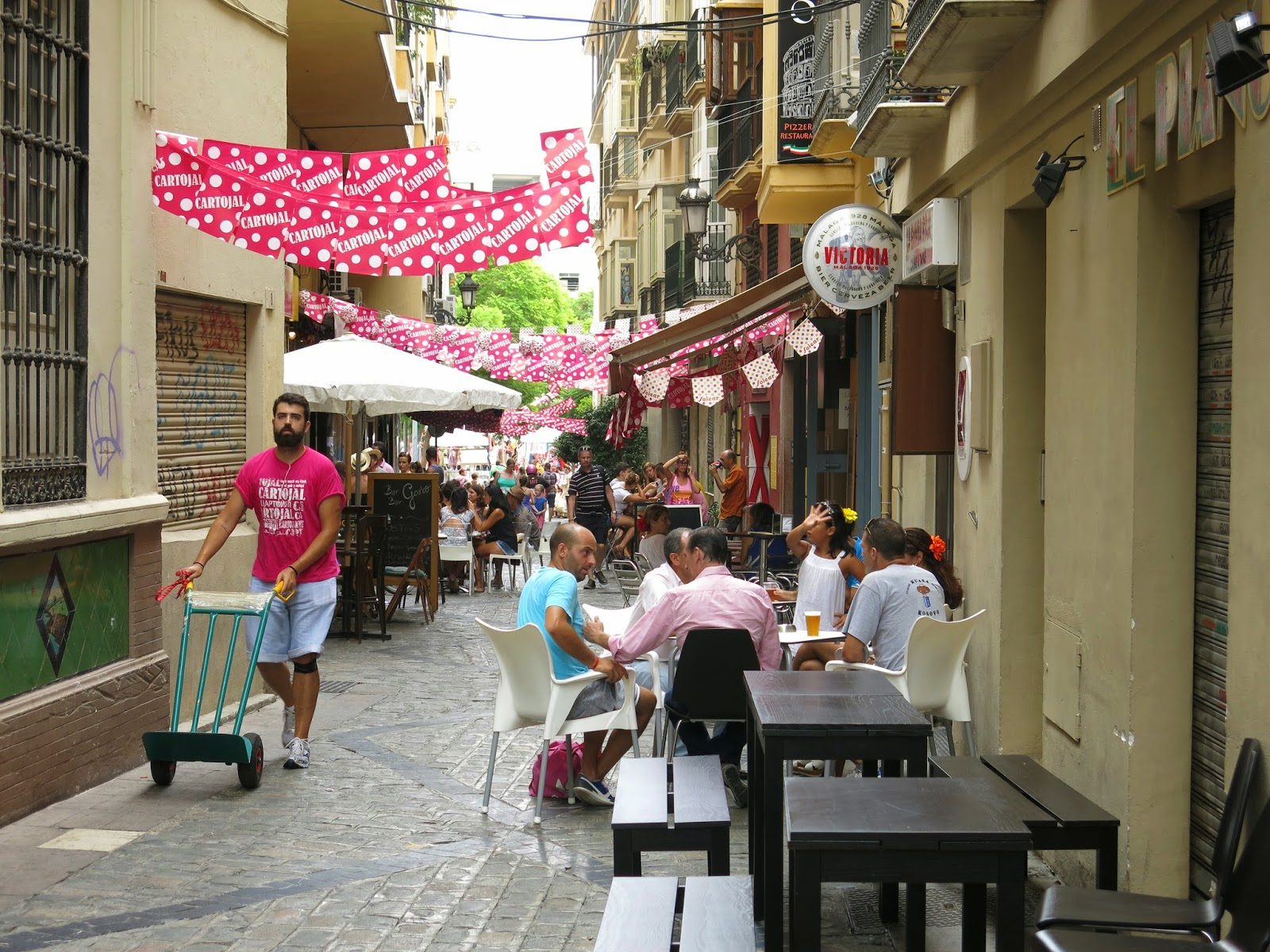 Photo of a street in Malaga during the feria