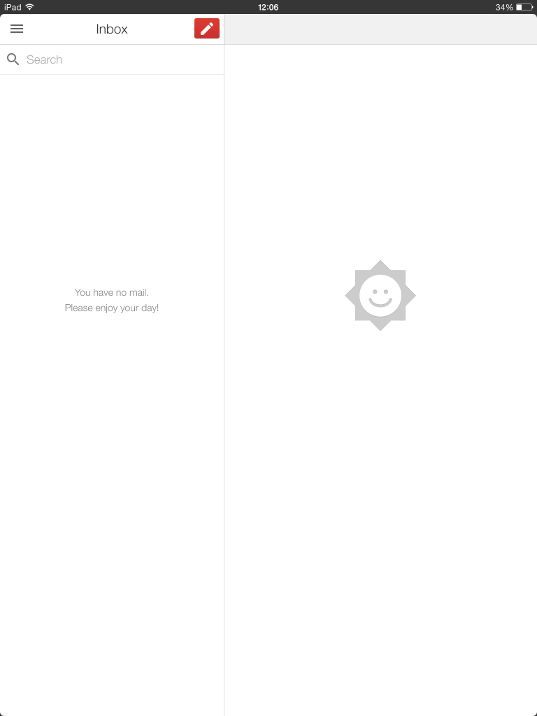 Screenshot of an empty inbox on gmail's mobile app