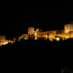 Photo of the Alhambra at night