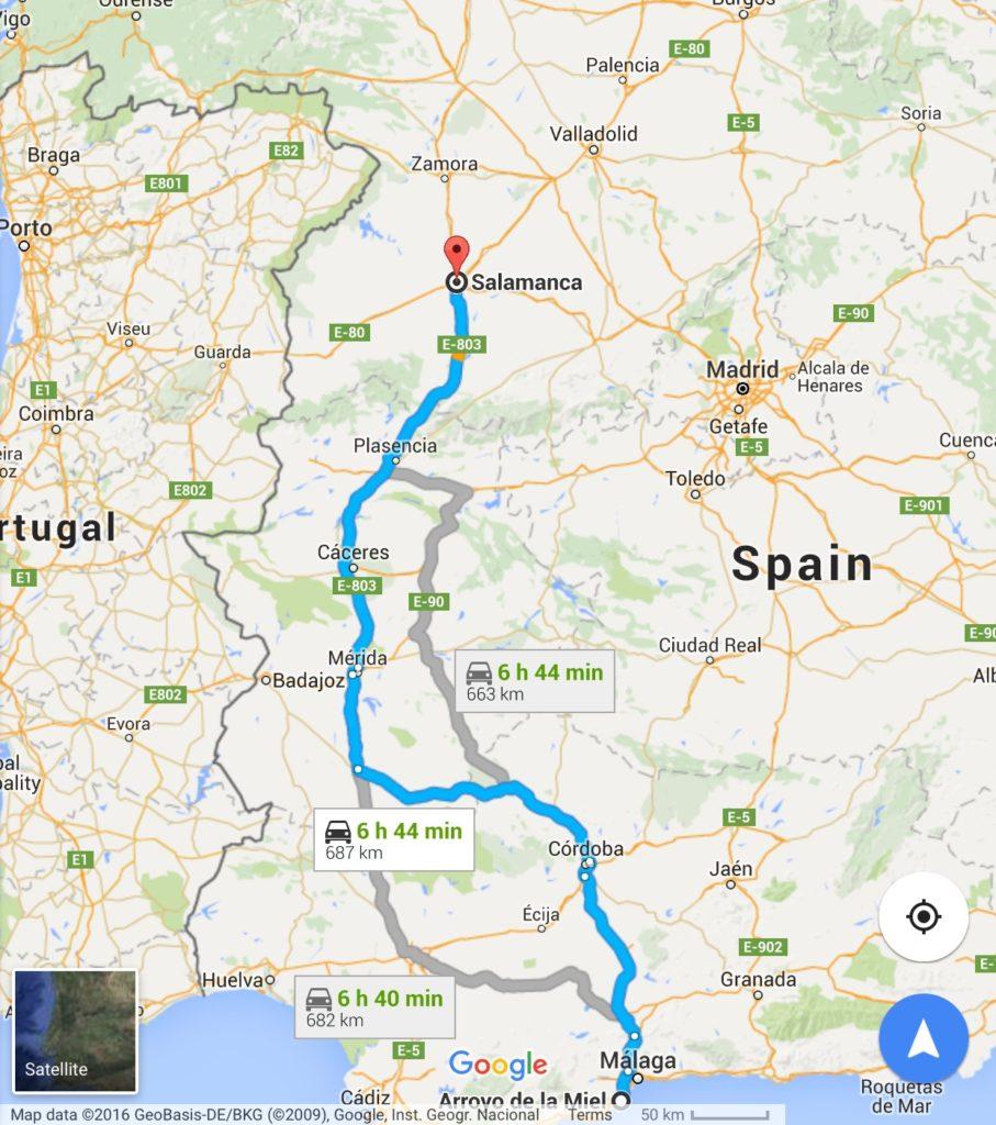 Route map: Arroyo de la Miel to Salamanca
