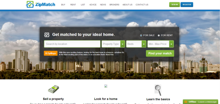 Showing what zipmatch.com's homepage used to look like