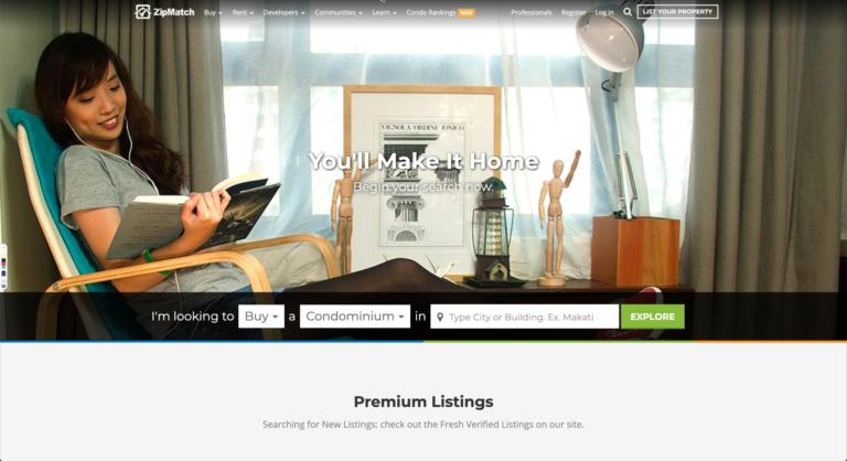 Image of Zipmatch's homepage