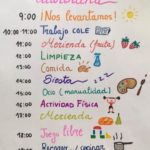 A hand drawn timetable